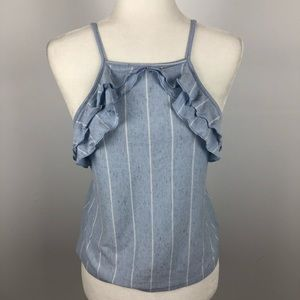 AEO light blue and white striped ruffle tank top S